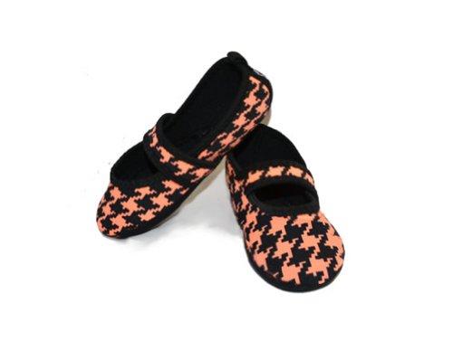 Nufoot Intérieur Filles Chaussures Besty Lou, Dent De Chiens Noirs Et Blancs, X-small 2 Count Pêche Et Black Hounds Dent