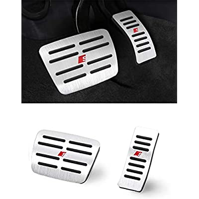 TTCR-II Pedal Covers for Audi A4 A5 A6 A7 A8 Q5 SQ5 and Porsche Macan, No Drill Anti-Slip Aluminum-Alloy Brake and Gas Pedal Pad (Automatic Transmission, 2 Sets): Automotive