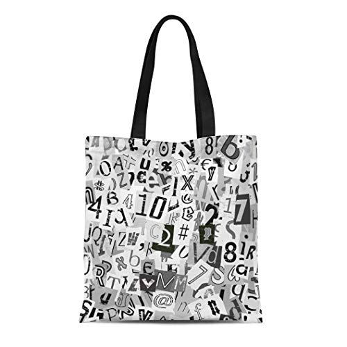 Semtomn Cotton Canvas Tote Bag Newspaper Black and White Newsprint Letters Graffiti Alphabet Artistic Reusable Shoulder Grocery Shopping Bags Handbag Printed