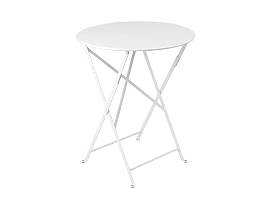 Fermob mesa redonda plegable Ø cm. 60 de acero color blanco ...