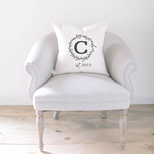Personalized Throw Pillow - Initial & Established Year, Handmade in the USA, calligraphy, home decor, wedding gift, engagement present, housewarming gift, cushion cover, throw pillow (Established Year)