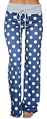 Sexymee Women's Comfy Stretch Floral Print Lounge Pants Casual Drawstring Palazzo Wide Leg Pajama Pants,Blue,Large by Sexymee