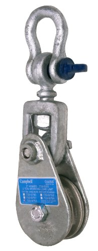 Campbell 7339752 Steel Drop Side WR Snatch Block with Shackle, Bronze Bushed, Galvanized, 2 ton Load Capacity, 3