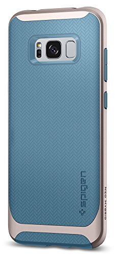 Spigen Neo Hybrid Galaxy S8 Case Herringbone with Flexible Inner Protection and Reinforced Hard Bumper Frame for Samsung Galaxy S8 (2017) - Niagara Blue - Blue Hybrid Case