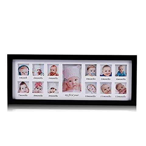 Feibi My First Year Baby Photo Frame, Baby Keepsake Frame, Wood Kids Picture Frame, 12 Photo Moments Frame (Black)