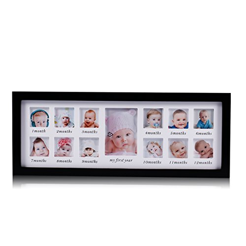Child Photo Frame - Feibi My First Year Baby Photo Frame Newborn Baby Keepsake Frame Kit Wood Kids Wall Hanging Picture Frame 14 Month Photo Frame (Black) - Unique Baby Gifts The Perfect Decorations for Room Wall