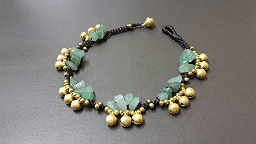 Handmade Women Jewelry Chip Jade Jingling Bohemian Brass Bell - Jade Anklet