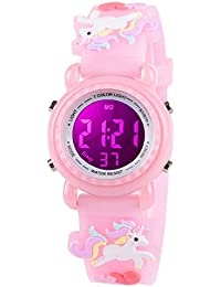 Venhoo Kids Watches for Girls Boys 3D Cartoon 30M Waterproof 7 Color LED Digital Child Wrist Watch Unicorn Gifts for Kid Toddler-Pink