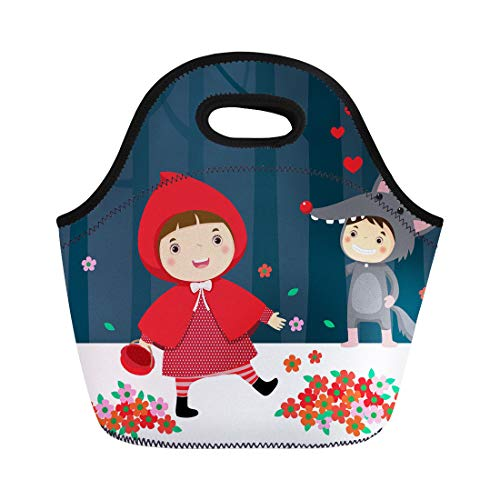 Semtomn Neoprene Lunch Tote Bag Costume of Little Red Riding Hood and Gray Wolf Reusable Cooler Bags Insulated Thermal Picnic Handbag for Travel,School,Outdoors, Work]()