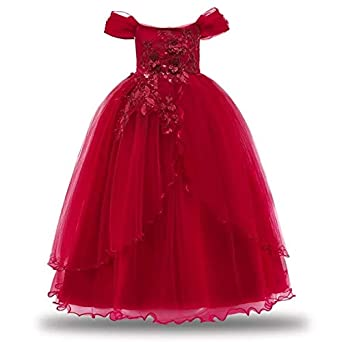 f7b44f611 Moda Fina Kids Girls Ball Gown Birthday Party Floral Dresses Wedding  Princess Frock Occasion Wear for 4 to 14 Years.: Amazon.in: Clothing &  Accessories