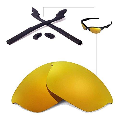 Walleva Replacement Lenses Or Lenses/Rubber for Oakley Half Jacket 2.0 Sunglasses - 41 Options Available (24K Gold Polarized Lenses + Black - And Gold Black Oakleys