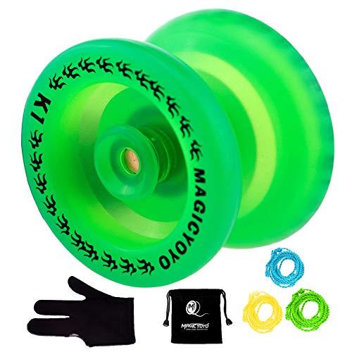 MAGICYOYO Responsive YoYo K1 Plus Glow in The Dark Green Yoyo with Yoyo Sack + 3 Strings +Yo-Yo Glove Gift (Yoyo Professional With String)