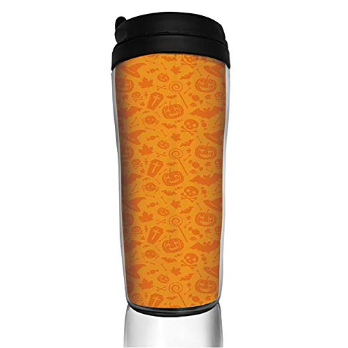 Stainless Steel Insulated Coffee Travel Mug,Design with Traditional Halloween Themed Various,Spill Proof Flip Lid Insulated Coffee cup Keeps Hot or Cold 11.8oz(350 ml) Customizable printing