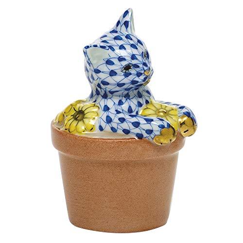 Herend Flower Pot Kitty Cat Figurine Sapphire Fishnet -