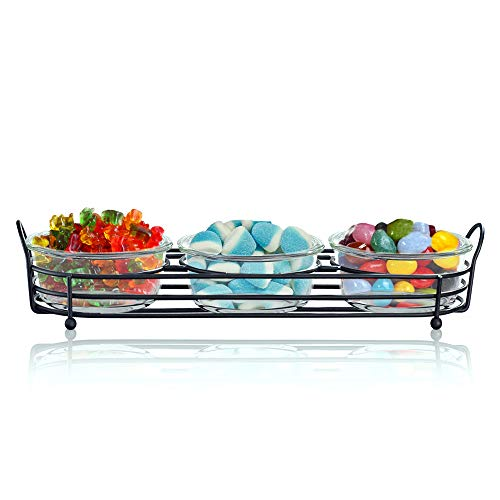Serving Tray Set of 3 Relish Bowls with Metal Caddy - 10oz Round Side Dish Glass Bowls for Serving Snacks, Appetizers, Candy, Nuts and Dips
