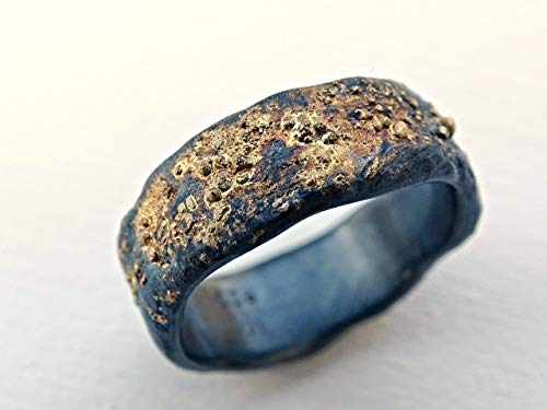 21306c42bf327e Celtic Wedding Band Men, Molten Wedding Ring Gold Silver, Viking Wedding  Band Gold, Unique Mens Ring, Gold Fusion Ring, Rustic Promise Ring $569.00