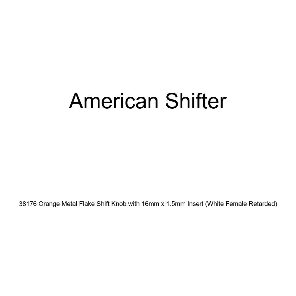 American Shifter 38176 Orange Metal Flake Shift Knob with 16mm x 1.5mm Insert White Female Retarded