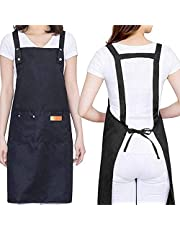 H Style Cotton Apron with 2 Pockets for Kitchen Cooking Baking, Adjustable Waterproof Apron for Chef, Hairstylist, Waiters, Artist, Beautician, Bar Shop (Black)