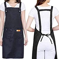 H Style Cotton Apron with 2 Pockets for Men Women, Adjustable Waterproof Apron for Kitchen, Bar Shop, Chef, Hairstylist…
