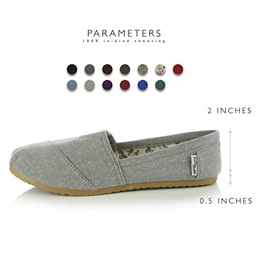 Ash Women's Slip Soft on DailyShoes Flat Linen Casual Foam Flats Classic Sneaker Shoes Cushioned Grey Memory Daily g8T86wx