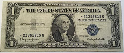 1935 H Series Star ⭐️ Blue Seal $1 One Dollar Silver Certificate US ()