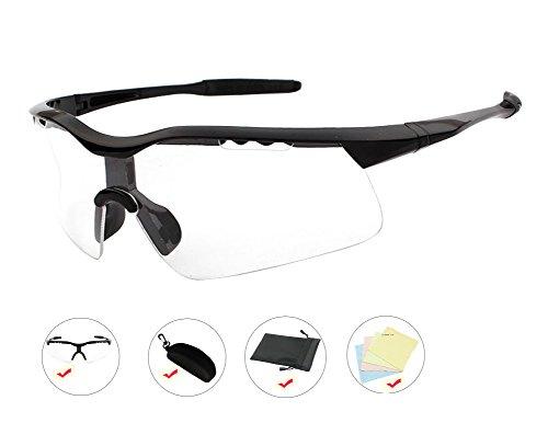 AikeSweet UV400 Professional Fahrradbrillen Fahrrad Sport Sonnenbrille Set, Sonnenbrillen Fall, Stoff, Tasche ( Klar )