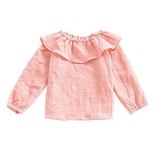 9ca086feaff7 Baby Girls Cotton Long Sleeve Round Neck Ruffle T-Shirt Tops Blouse ...