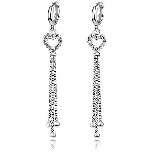 New Fashion Women Long Tassel Silver Dangle Earring Heart Shape Rhinestone Pendant Eardrop 1 (Shape Pendant Earrings)