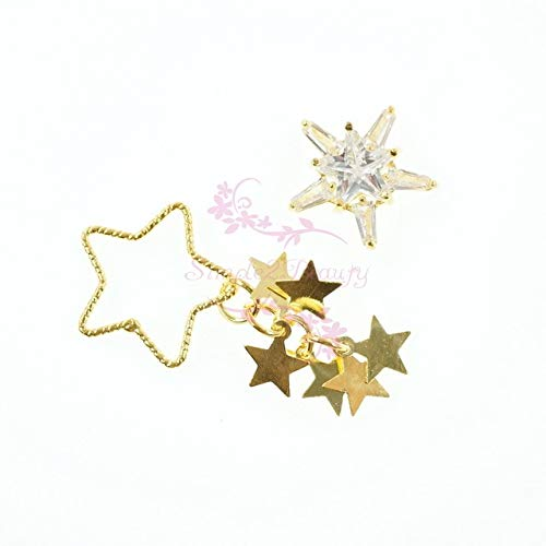 Kamas 10PCS/Pack Large Hollow Out Star Frame Tassel Dangle Alloy Charms Zircon Gold Metal Luxury Nail Art Jewelry Craft 3D Decorations - (Color: Each -