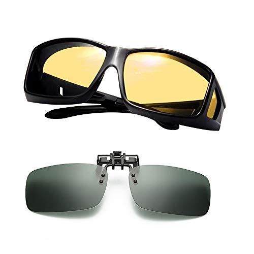 Night Driving Glasses, Polarized Wrap Around Prescription Eyewear XGlasses (black yellow) (black+black, 0) ()