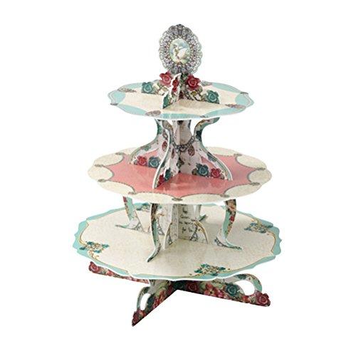 BESTOYARD Three Layers Cake Stand Beautiful Flowers Paper Cake Racks for Children Birthday Party Wedding Decor ()
