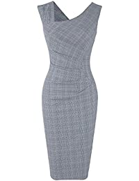 Womens Retro 1950s Style Sleeveless Slim Business Pencil Dress