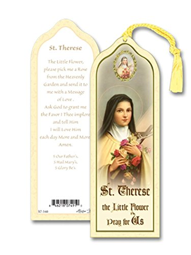 Laminated Saint St Therese the Little Flower Bookmark with Gold Foil Stamping and Enameled Medal, Pack of 10 Gold Enameled Flower