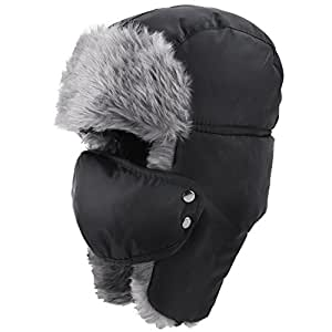 Prooral Unisex Winter Trooper Trapper Hat Hunting Hat Ushanka Ear Flap Chin Strap and Windproof Mask Nylon Russian Style Winter Ear Flap Hat for Men Women (Black.Blue) …