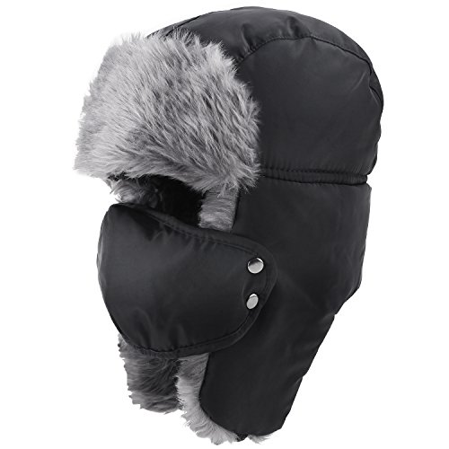 Prooral Unisex Winter Trooper Trapper Hat Hunting Hat Ushanka Ear Flap Chin Strap and Windproof Mask Nylon Russian Style Winter Ear Flap Hat for Men Women (Black) …