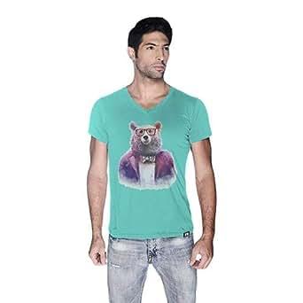 Creo Bear Pug Life V-Neck T-Shirt For Men - S, Green