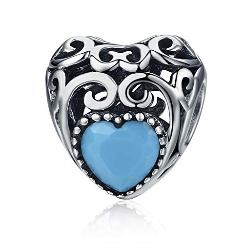 December Bead Boy Charm - Forever Queen Birthstone Charms- Leaves Wave Heart Bead Charms- 925 Sterling Silver Openwork Charm fit Pandora Charm Bracelet Necklace for Women, Daughter, Wife, Girlfriend, Mother BJ09019 (December)