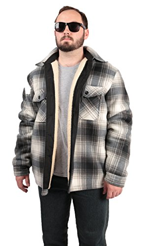 Woodland Supply Co. Plaid Fleece Sherpa Lined Hoodie Jacket (X-Large, (Co Sherpa Fleece)