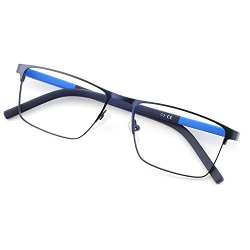 OCCI CHIARI Rectangle Full-Rim Metal Optical Glasses Acetate Arm For Bussiness Men W-CRIFO (Dark Blue, 54)