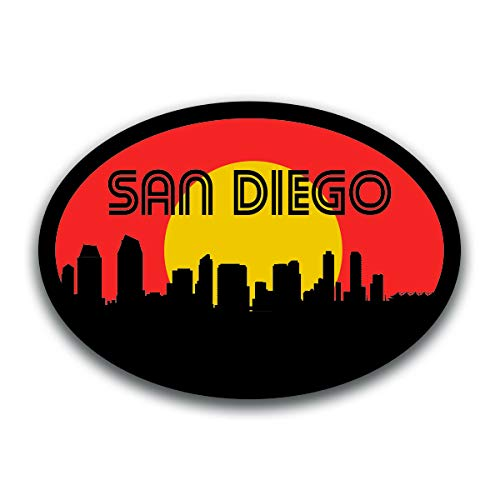 (San Diego California Skyline Vinyl Decal Sticker | Cars Trucks Vans SUVs Windows Walls Cups Laptops | Full Color Printed | 5.5 Inch | KCD2591)