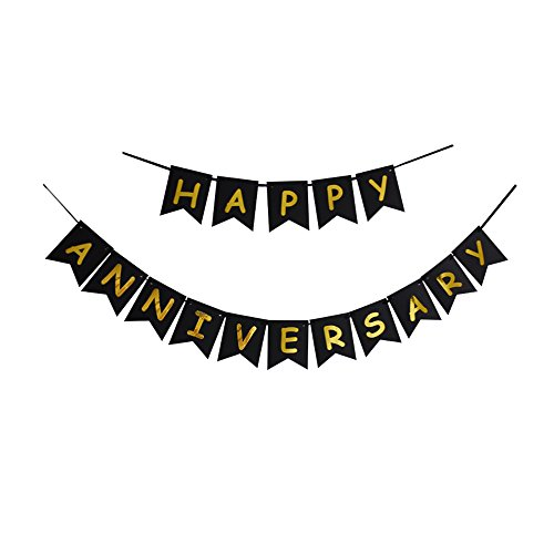 Happy Anniversary Banner, Black & Gold Letters Bunting, Wedding Anniversary Party Decorations