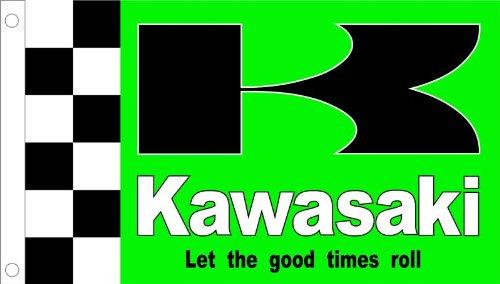 3'x5' KAWASAKI FLAG, checkered motorcycle racing banner