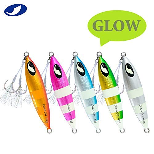 Flat Fall Lead Slow Pitched Metal Jigs Vertical Sinking Saltwater Fishing GLOW