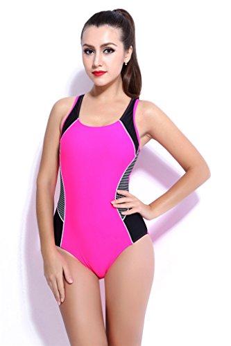 Fortuning's JDS Una sola pieza traje de baño para adelgazar Moldeado Copa mono traje de baño traje de baño para mujeres y niñas adolescentes rosado
