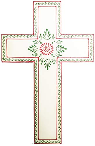 Purpledip Wooden Wall Cross 'Divine Purity': Handpainted Mangowood Plaque, White (11446A) ()