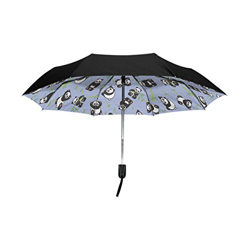 YZGO Outer Black Umbrella Cute Cartoon Panda Expression Print UV Anti Lightweight Parasol Elegant Reverse 3 folding Drop Sturdy Umbrella Special Gifts for Business & Personal Review
