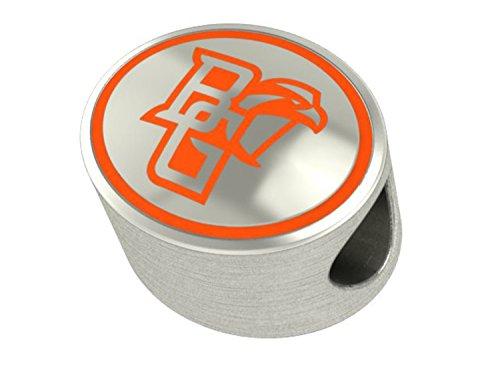 Kera Silver Enamel - Bowling Green University Falcons BGSU Bead Fits Most Beaded Style Charm Bracelets