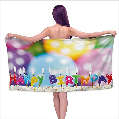 Onefzc Travel Bath Towel Kids Birthday Celebration Colorful Candles on Party Cake with Abstract Blurry Backdrop Super Soft Highly Absorbent W35 x L12 Multicolor by Onefzc (Image #5)