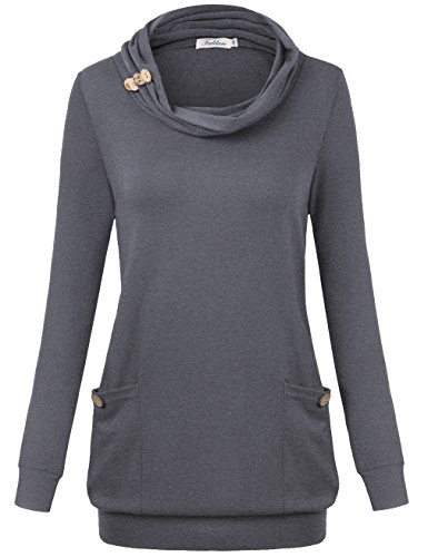 Faddare Women Clothing, Lady Spring Long Sleeve Cowl Neck Button Sweater,Deep Grey M