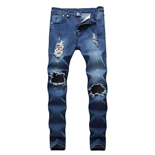 Entrenamiento Astucia Vaqueros Jeans Jeans Hombre Motorista RT Hren Fit Pantalones Destruido Slim Deepblue Pantalones Elástico Jeans Mitlfuny Flacos Jeans Cinta De Denim FzpvHH